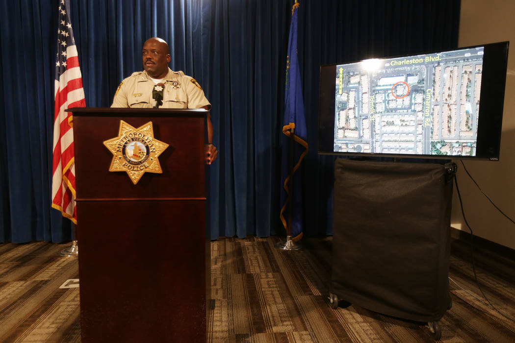 Assistant Sheriff Tim Kelly shows the press the location of an officer involved shooting on Thursday, June 22, 2017, during a news conference at Metropolitan Police Department headquarters in Las  ...