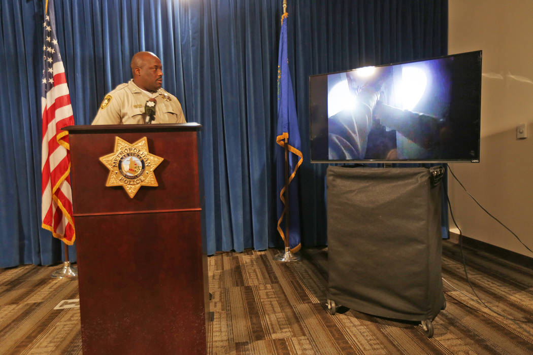 Assistant Sheriff Tim Kelly shows the press body camera footage from an officer involved shooting on Thursday, June 22, 2017, at Metropolitan Police Department headquarters in Las Vegas. Rachel As ...