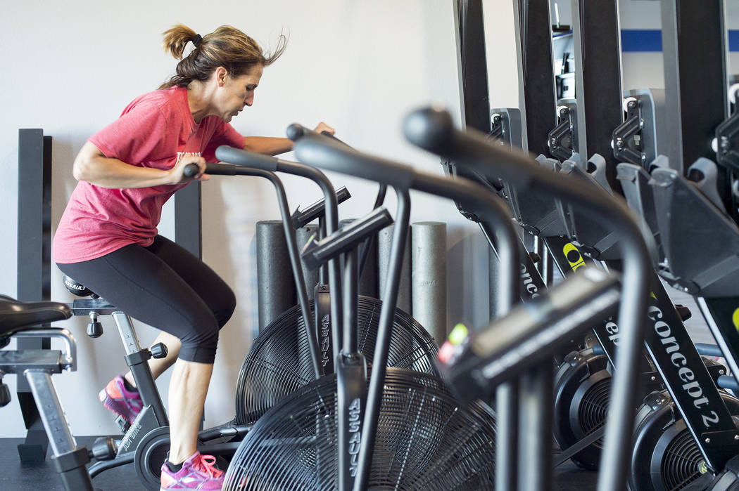 Cheryl Smith works out at Camp Rhino's northwest location on Tuesday, June 13, 2017, in Las Vegas. Bridget Bennett Las Vegas Review-Journal @bridgetkbennett