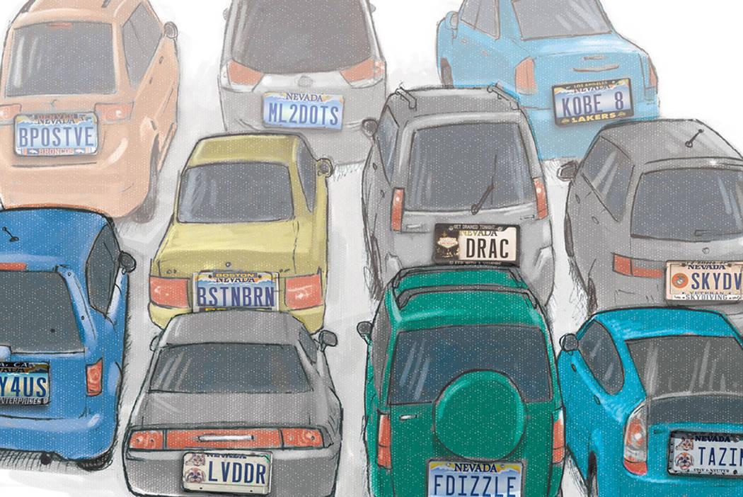 Vanity license plates in Las Vegas (Gabriel Utasi/Las Vegas Review-Journal)