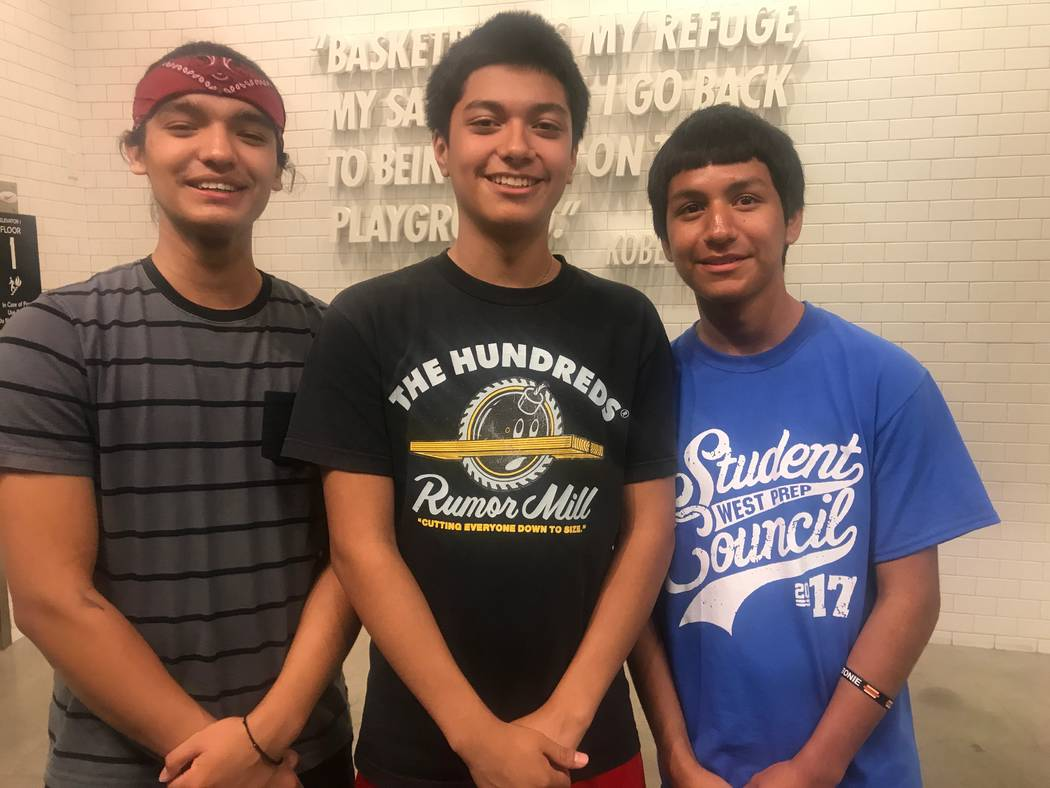 Sixteen year olds Alan Carreon, left, Oscar Gavino, Carlos Coreas during field trip June 21 at Nike at the Caesars Forums Shops. (Kailyn Brown/View) @KailynHype