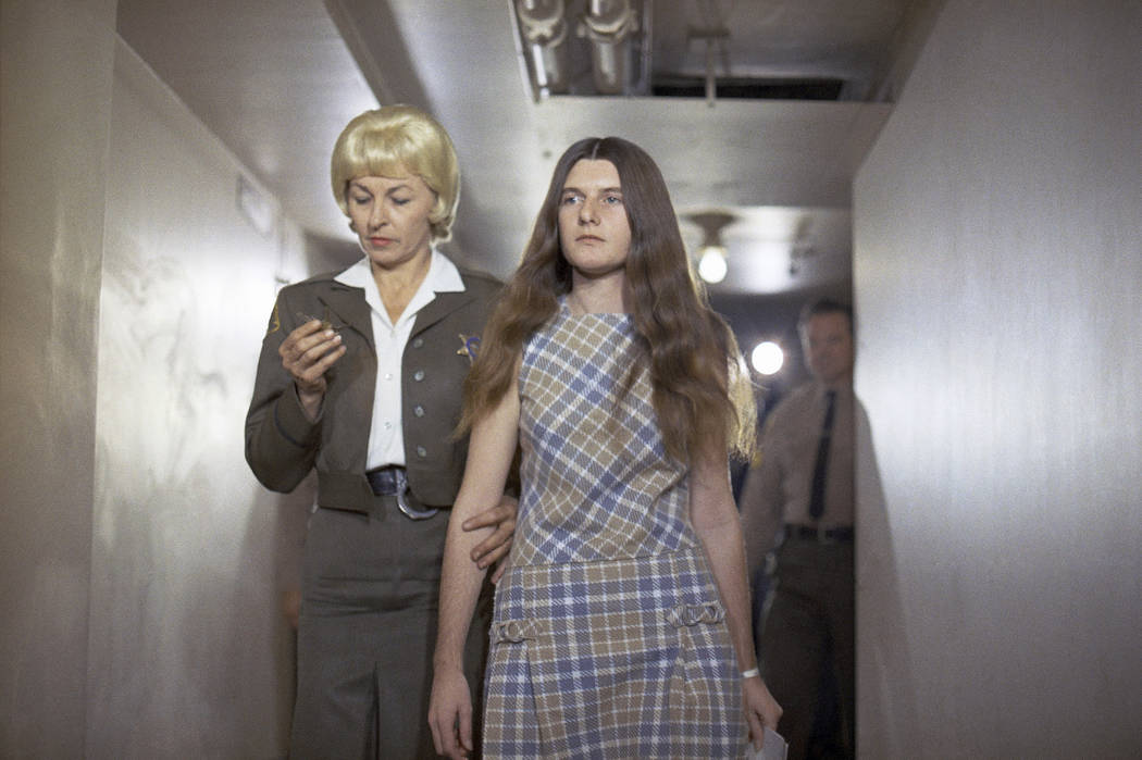 Patricia Krenwinkel, a defendant in the Tate murder case, enters the superior court in Los Angeles for an arraignment Feb. 24, 1970. Krenwinkel, a follower of cult killer Charles Manson, is again  ...