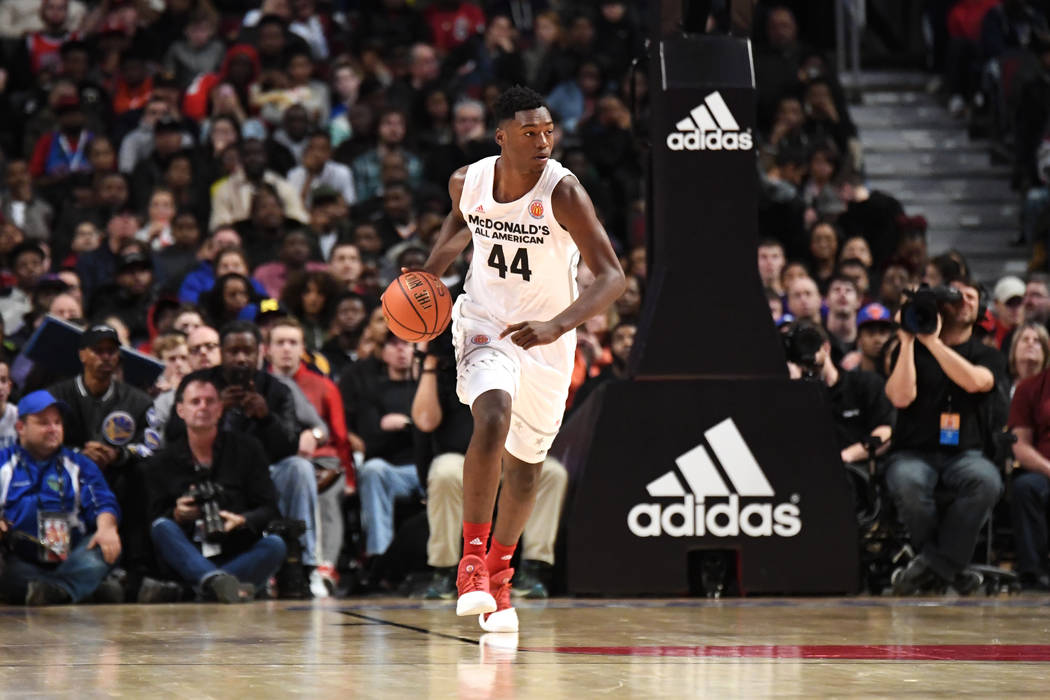 McDonald's All-American West center Brandon L. McCoy (44) takes the ball up court during the McDonald's All American Game on March 29, 2017, at the United Center in Chicago, IL. West won 109-107.  ...