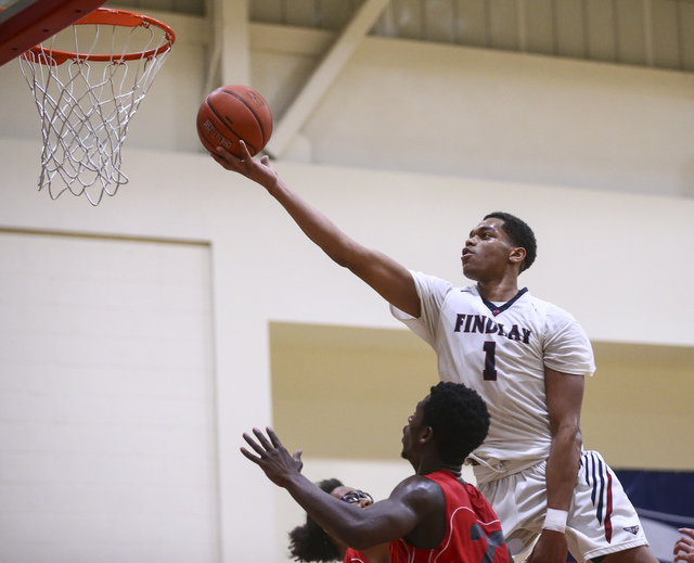 Findlay Prep forward P.J. Washington (1) sends in a shot to score against Planet Athlete during a basketball game at the Henderson International School in Henderson on Saturday, Feb. 11, 2017. (Ch ...