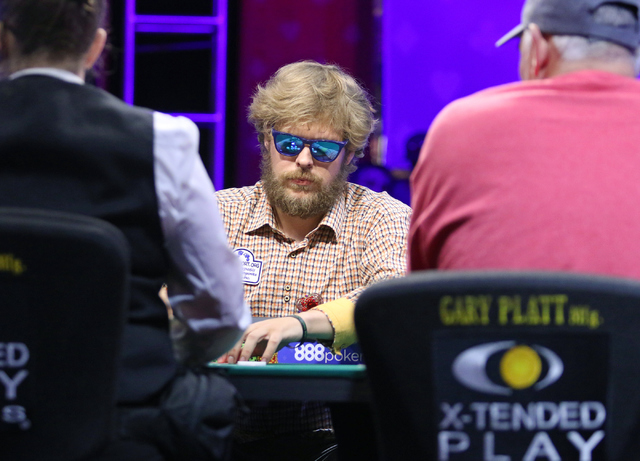 Ben Keeline, of Westminster, Colorado, plays in final table of the $565 buy-in Colossus II No-limit Hold'em at the 47th annual World Series of Poker at the Rio Convention Center Tuesday, June 7, ...