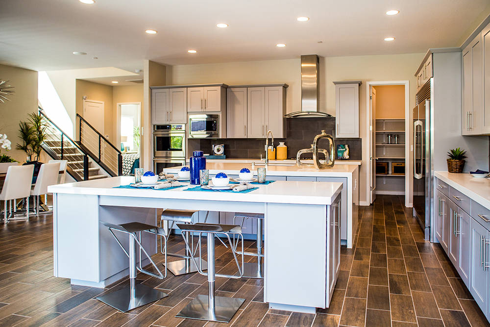 The kitchen in Jeffery Ho's new home in Lennar's The Canyons in Henderson. (Tonya Harvey RjNewHomes.Vegas)