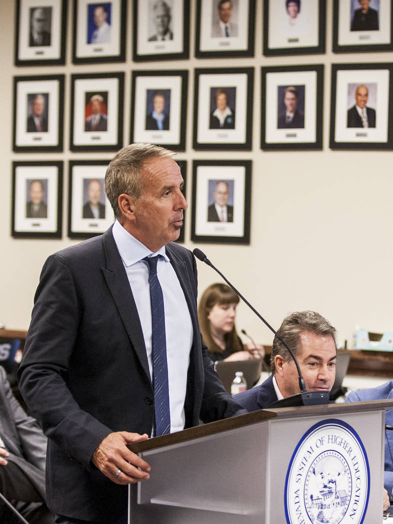 Thom Reilly, the newly appointed chancellor of the Nevada System of Higher Education, speaks at the Board of Regents meeting in the NSHE office in Las Vegas on Monday, June 26, 2017.  Patrick Conn ...