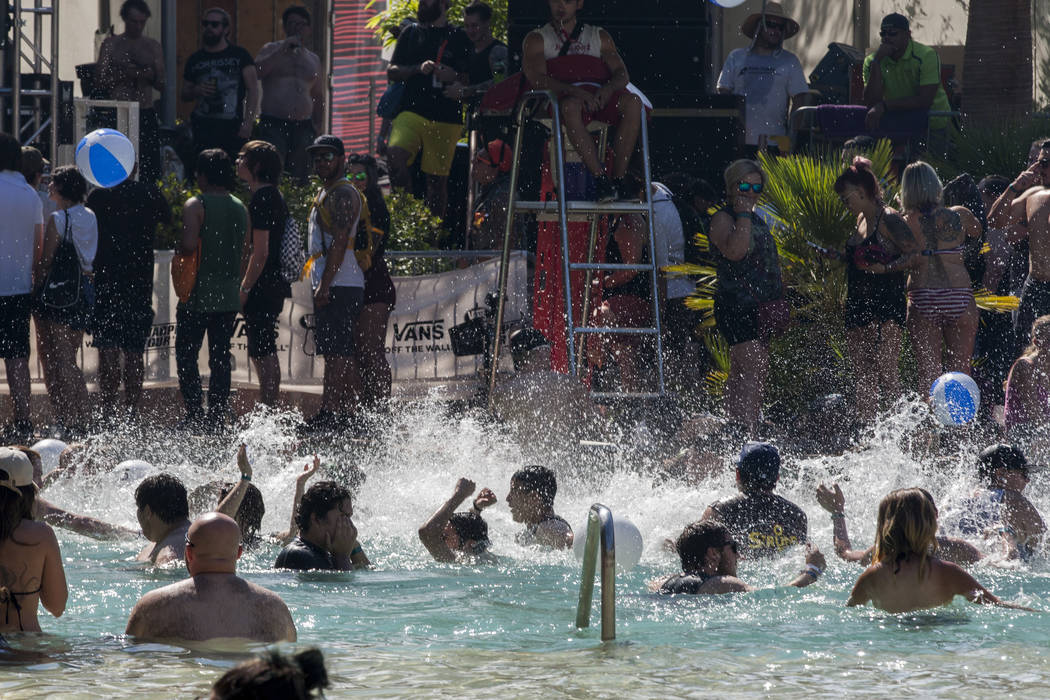 Concert-goers cool off in the Nirvana Pool while Bad Cop/Bad Cop plays at Vans Warped Tour at the Hard Rock Hotel and Casino on Friday, June 23, 2017.  Patrick Connolly Las Vegas Review-Journal @P ...