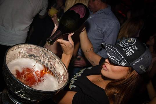 The Stanley Cup is used as a Dom Perignon decanter at Light at Mandalay Bay on Wednesday, June 21, 2017. (Light Nightclub)