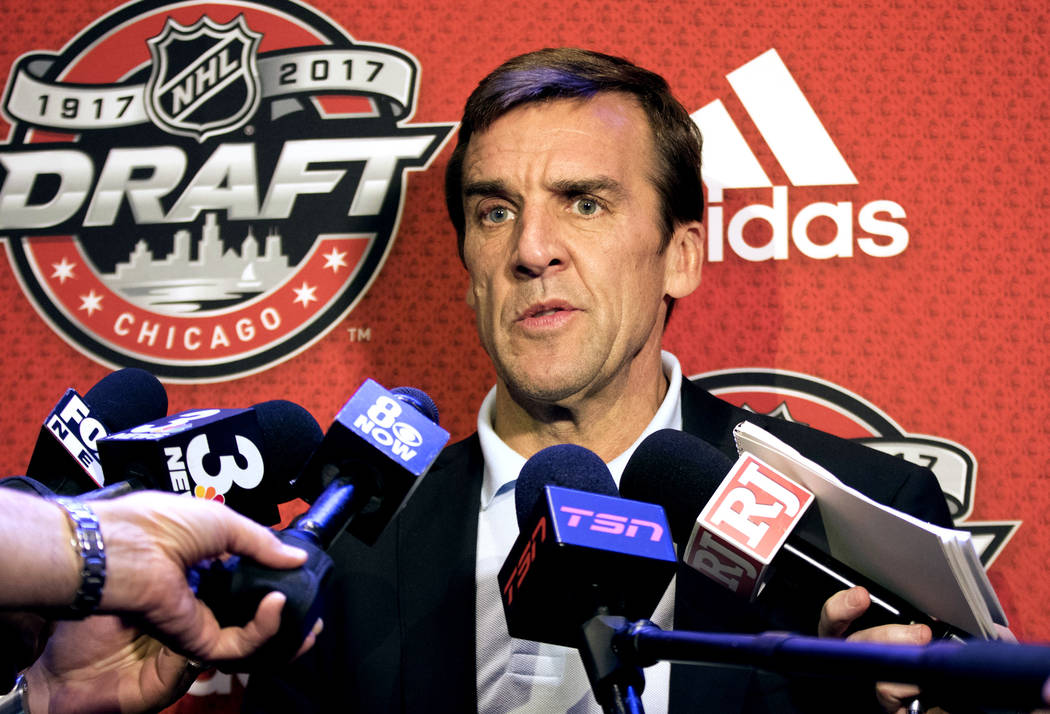 Vegas Golden Knights general manager George McPhee replies to media questions at the Chicago Marriott Hotel on Thursday, June 22, 2017 ahead of the NHL Entry Draft. Heidi Fang Las Vegas Review-Jou ...
