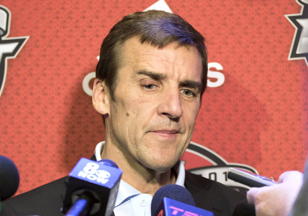 Vegas Golden Knights general manager George McPhee answers questions about the 2017 NHL Entry Draft at the Chicago Marriott Hotel on Thursday, June 22, 2017. Heidi Fang Las Vegas Review-Journal @H ...