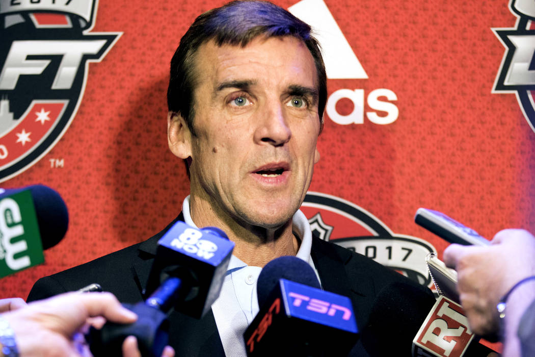 Vegas Golden Knights general manager George McPhee answers questions ahead of the 2017 NHL Entry Draft at the Chicago Marriott Hotel on Thursday, June 22, 2017. Heidi Fang Las Vegas Review-Journal ...