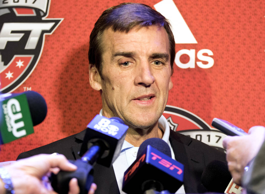 Vegas Golden Knights general manager George McPhee listens to questions in a media scrum ahead of the 2017 NHL Entry Draft at the Chicago Marriott Hotel on Thursday, June 22, 2017. Heidi Fang Las  ...