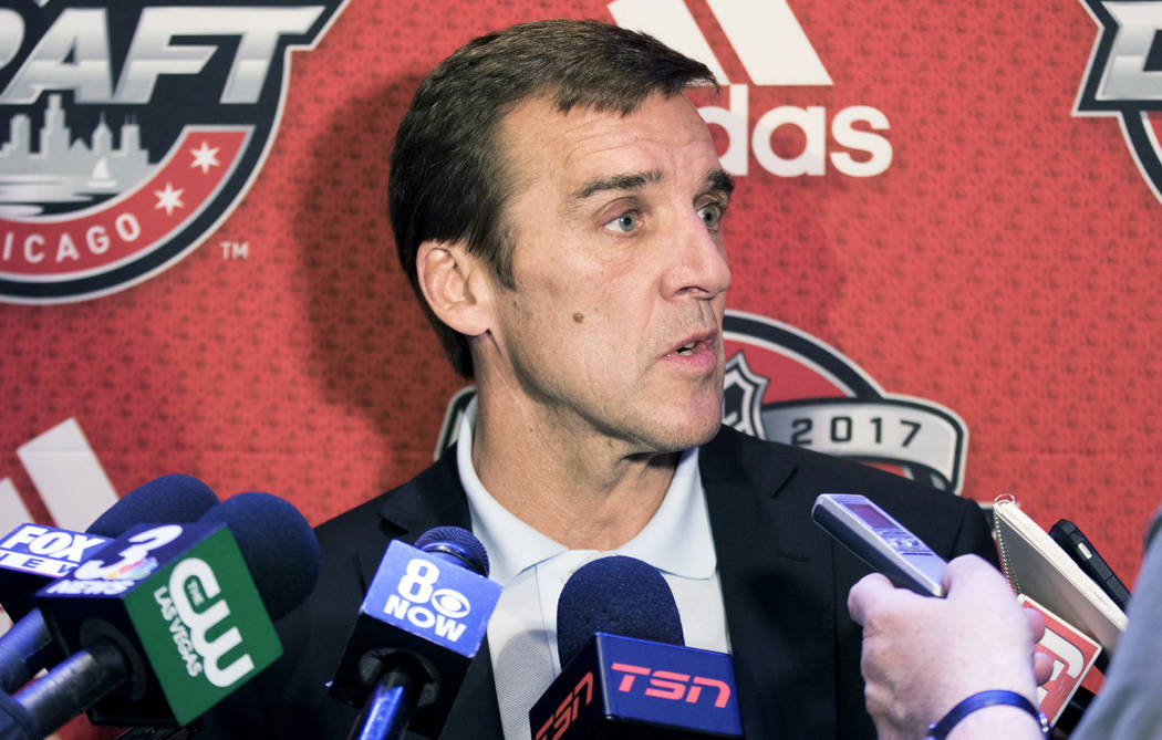 Vegas Golden Knights general manager George McPhee takes questions at a media scrum at the Chicago Marriott Hotel on Thursday, June 22, 2017 ahead of the NHL Entry Draft. Heidi Fang Las Vegas Revi ...
