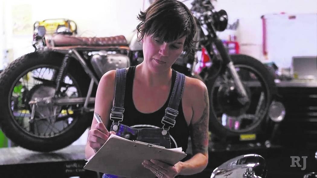"Tara Pierce handles the ""business side"" of Main Street Moto. Rahcel Aston"