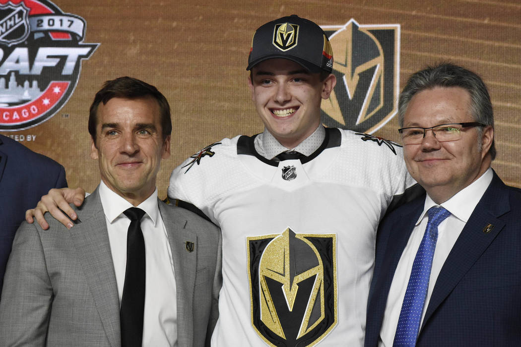 June 23, 2017; Chicago, IL, USA; Cody Glass poses for photos after being selected as the number six overall pick to the Vegas Golden Knights in the first round of the 2017 NHL Draft at the United  ...