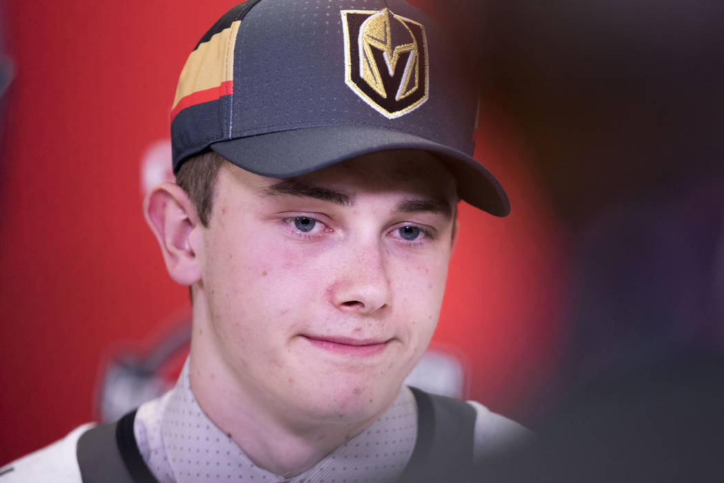 Cody Glass, who was the first player selected by the Vegas Golden Knights at 2017 NHL Entry Draft, listens during a media scrum at the in Chicago, Illinois, on Friday, June 23, 2017. Heidi Fang/La ...