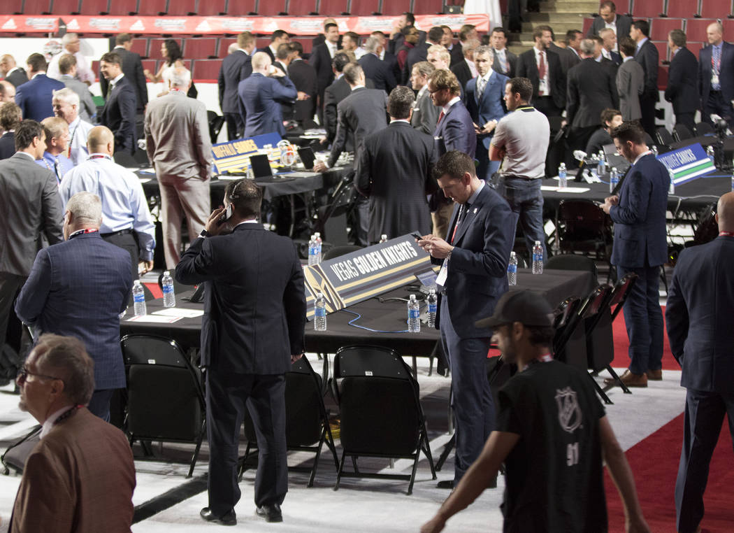 Executives begin to organize ahead of the 2017 NHL Entry Draft in the United Center in Chicago, Illinois, on Friday, June 23, 2017. Heidi Fang/Las Vegas Review-Journal @HeidiFang