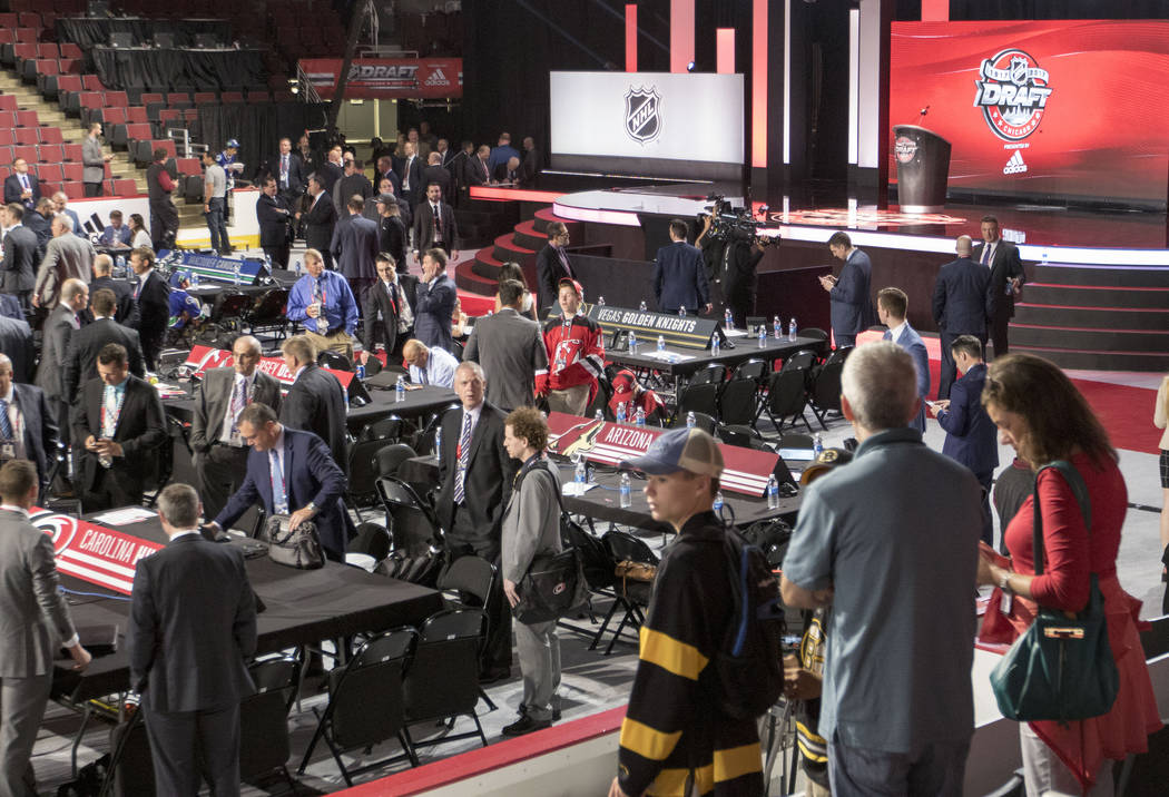 The Las Vegas Golden Knights draft table sits at the front ahead of the 2017 NHL Entry Draft in the United Center in Chicago, Illinois, on Friday, June 23, 2017. Heidi Fang/Las Vegas Review-Journa ...