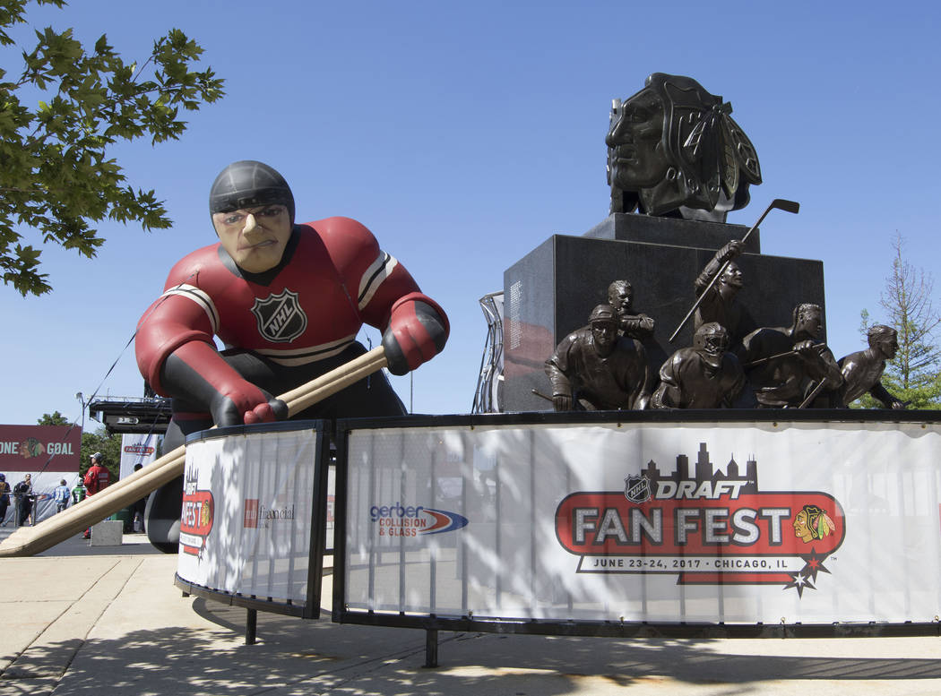 The 2017 NHL Entry Draft fan festival boasts a giant blowup Chicago Blackhawk in front of the United Center in Chicago, Illinois, on Friday, June 23, 2017. Heidi Fang/Las Vegas Review-Journal @Hei ...