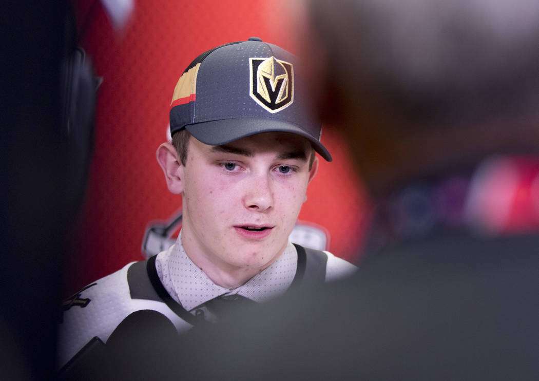 Vegas Golden Knights first-round draft pick Cody Glass, who was selected sixth overall in the 2017 NHL Entry Draft speaks to media in Chicago, Illinois, Friday, June 23, 2017. Heidi Fang/Las Vegas ...