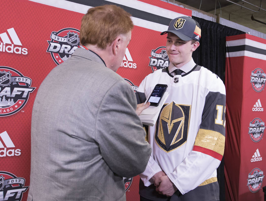 Vegas Golden Knights first-round draft pick Cody Glass, right, speaks with the Review-Journal's Ed Graney at the 2017 NHL Entry Draft in Chicago, Illinois on Friday, June 23, 2017. Heidi Fang/Las  ...