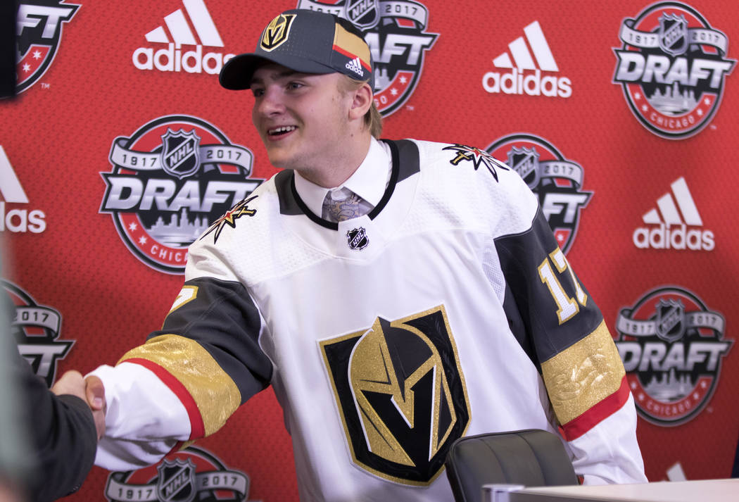 Erik Brannstrom, who was selected 15th overall by the Vegas Golden Knights at the 2017 NHL Entry Draft, arrives at a media scrum in Chicago, Ill., on Friday, June 23, 2017. Heidi Fang/Las Vegas Re ...