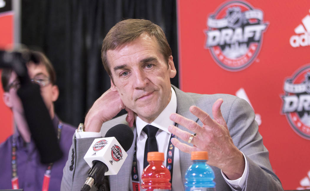 Vegas Golden Knights general manager George McPhee during a media scrum following the first round of the 2017 NHL Entry Draft at the United Center in Chicago on Friday, June 23, 2017. Heidi Fang/L ...