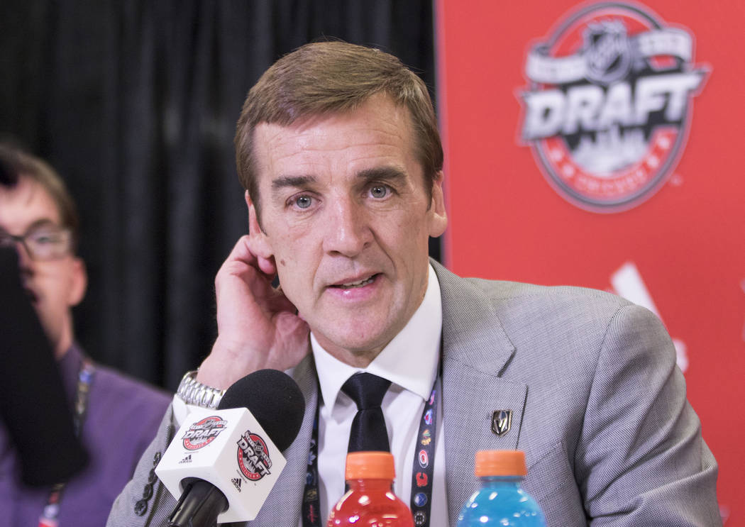 Vegas Golden Knights general manager George McPhee discusses the players taken in the first round of the 2017 NHL Entry Draft at the United Center in Chicago on Friday, June 23, 2017. Heidi Fang/L ...