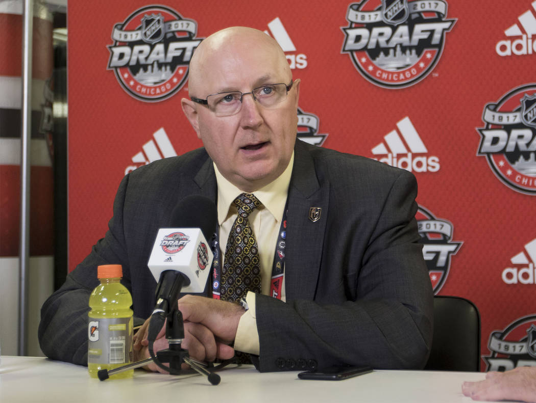 Vegas Golden Knights scout Bob Lowes recaps the 2017 NHL Entry Draft with reporters at the United Center in Chicago on Saturday, June 24, 2017. Heidi Fang/Las Vegas Review-Journal @HeidiFang