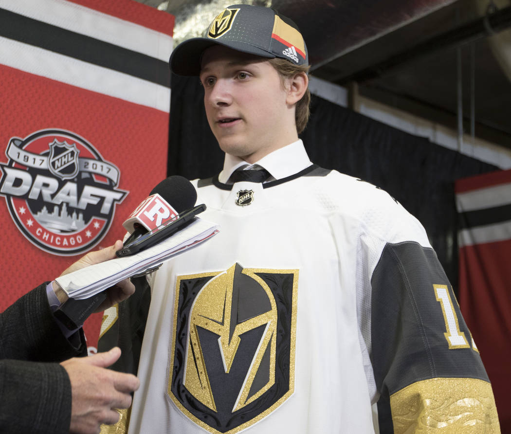 Jonas Rondbjerg, who was selected 65th overall in the 2017 NHL Entry Draft by the Vegas Golden Knights, is interviewed at the United Center in Chicago, Saturday, June 24, 2017. Heidi Fang/Las Vega ...