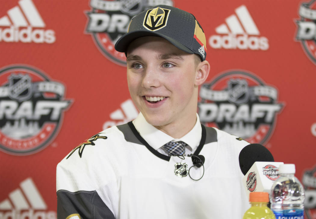 Jake Leschyshyn, who was selected 62nd overall in the 2017 NHL Entry Draft by the Vegas Golden Knights, takes questions from reporters at the United Center in Chicago, Saturday, June 24, 2017. Hei ...