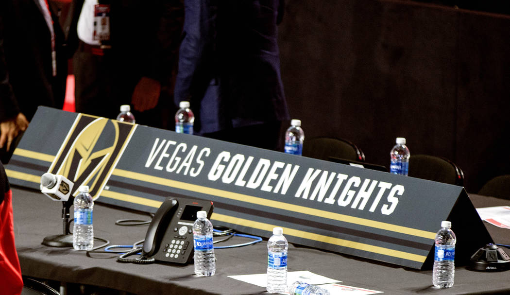 The Las Vegas Golden Knights draft table at the 2017 NHL Entry Draft in the United Center in Chicago, Illinois, on Friday, June 23, 2017. Heidi Fang/Las Vegas Review-Journal @HeidiFang