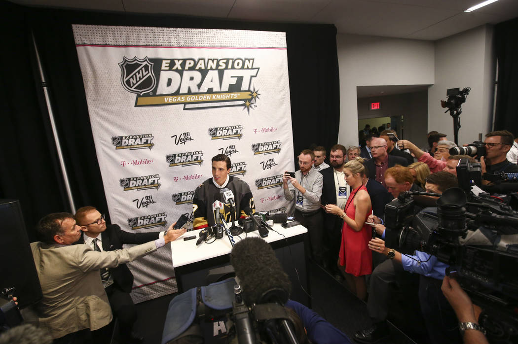 Marc-Andre Fleury is interviewed following the NHL Awards and expansion draft at the T-Mobile Arena in Las Vegas on Wednesday, June 21, 2017. Chase Stevens Las Vegas Review-Journal @csstevensphoto