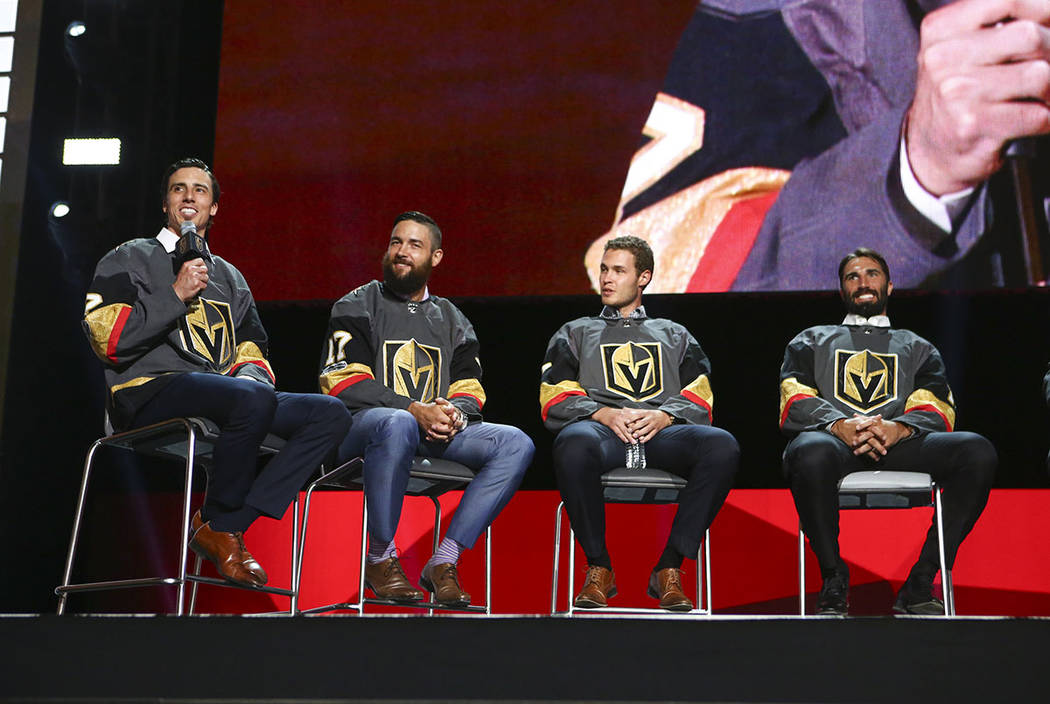 Marc-Andre Fleury, left, speaks alongside Deryk Engelland, Brayden McNabb, and Jason Garrison during a roundtable following the NHL Awards and expansion draft at the T-Mobile Arena in Las Vegas on ...
