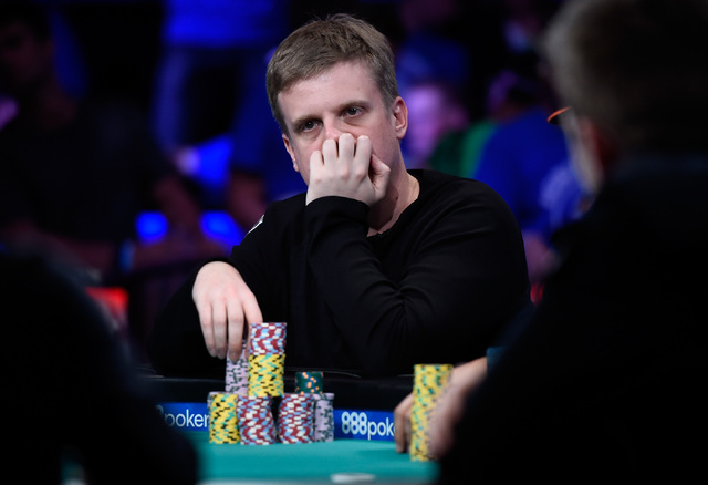 Vojtech Ruzicka of the Czech Republic competes during the final table of the Main Event at the World Series of Poker at the Rio hotel-casino, Sunday, Oct. 30, 2016, in Las Vegas. David Becker/Las  ...