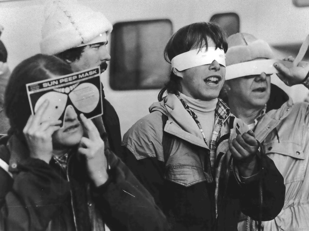 On Feb. 26, 1979, eclipse enthusiasts gathered at Observatory Hill in Goldendale, Wash., to watch a solar eclipse. The first place to experience total darkness as the moon passes between the sun a ...
