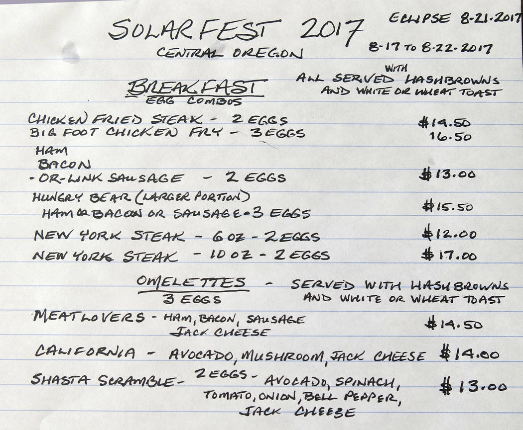 A rough draft of a special shortened menu for the Aug. 21 total solar eclipse is seen resting on a table at the Black Bear Diner in Madras, Oregon on June 12, 2017. The first place to experience t ...