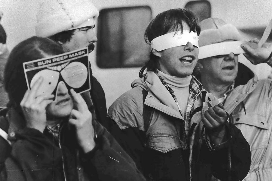 On Feb. 26, 1979, eclipse enthusiasts gathered at Observatory Hill in Goldendale, Washington, to watch a solar eclipse. The first place to experience total darkness as the moon passes between the  ...