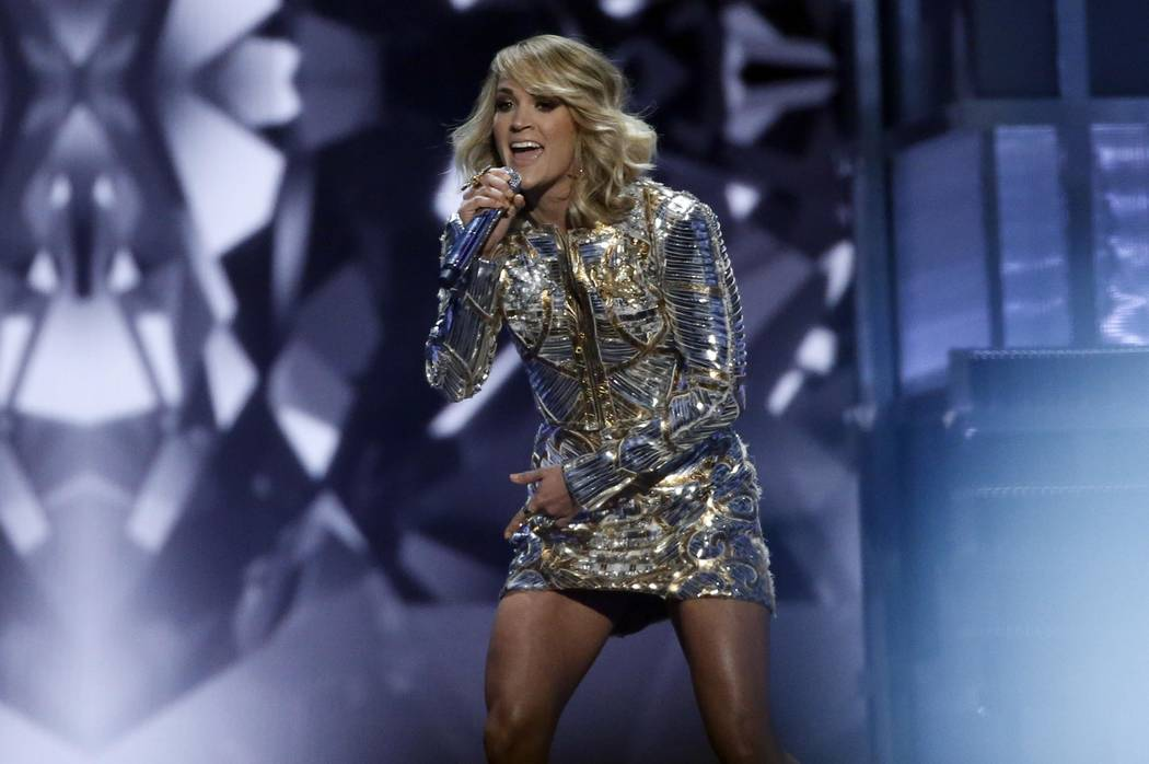 "Carrie Underwood performs ""Church Bells"" at the 52nd Academy of Country Music Awards show in Las Vegas, Nevada, U.S., on February 4, 2017. (Mario Anzuoni/Reuters)"