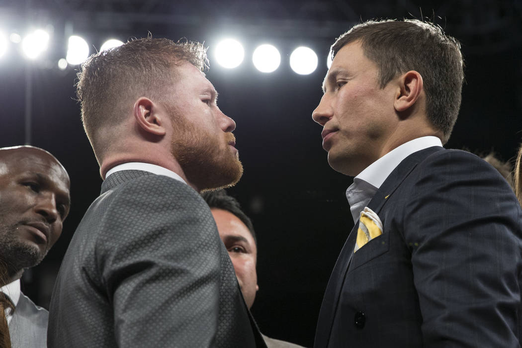 Saul Canelo Alvarez, left, and Gennady Golovkin at T-Mobile Arena on Saturday, May 6, 2017, in Las Vegas. Erik Verduzco Las Vegas Review-Journal @Erik_Verduzco