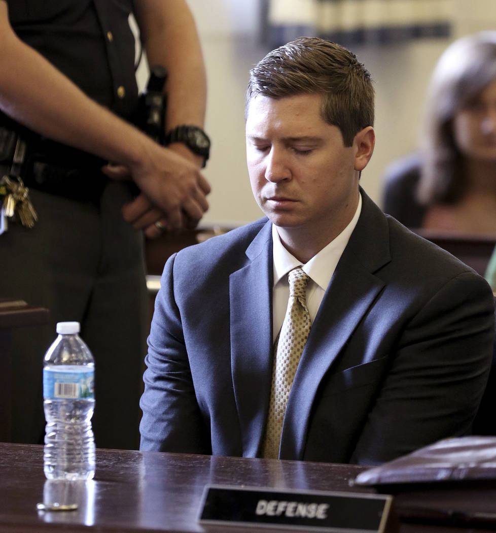 Former University of Cincinnati police officer Raymond Tensing listens as Hamilton County Common Pleas Judge Leslie Ghiz tells the jury to continue deliberations  after the jury said they are dead ...
