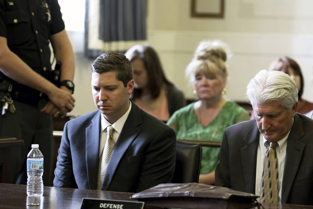 Former University of Cincinnati police officer Raymond Tensing, left, and his attorney Stew Mathews listen as Hamilton County Common Pleas Judge Leslie Ghiz tells the jury to continue deliberation ...