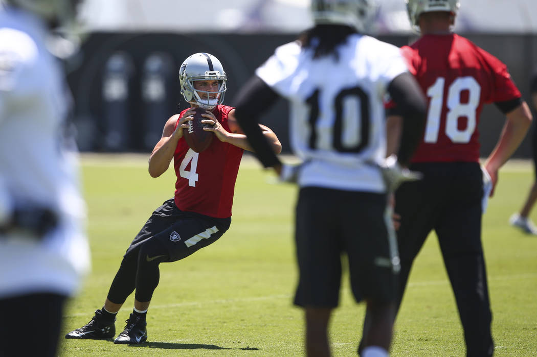 Oakland Raiders quarterback Derek Carr (4) during day two of a mini-camp at the Raiders headquarters and training facility in Alameda, Calif. on Wednesday, June 14, 2017. Chase Stevens Las Vegas R ...