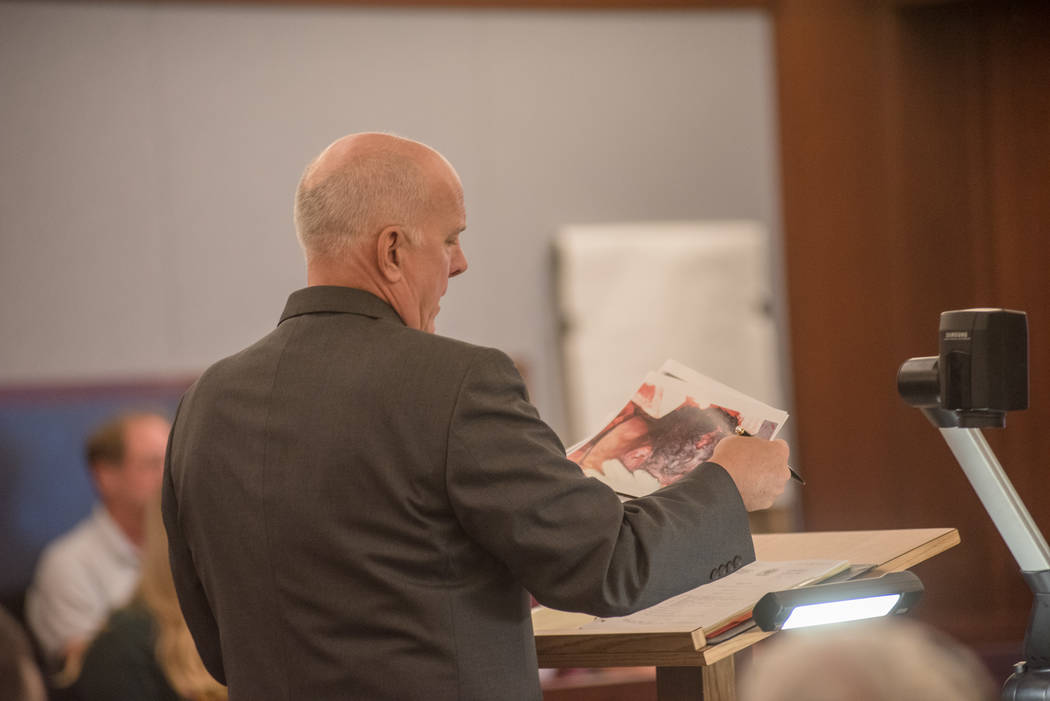 Prosecutor David Stanton presents photographs in court during the Thomas Randolph murder trial on Wednesday, June 21, 2017, at Regional Justice Center in Las Vegas. Morgan Lieberman Las Vegas Revi ...