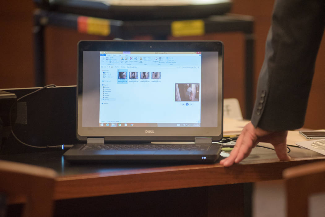 A series of clips showing a reenactment of the homicide, made by Thomas Randolph for the homicide detectives, sits on the prosecutor's computer during the trial on Wednesday, June 21, 2017, at Reg ...