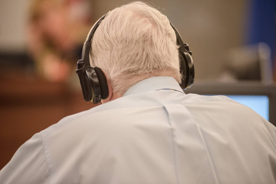 Thomas Randolph uses headphones as a hearing aid during trial on Wednesday, June 21, 2017, at Regional Justice Center in Las Vegas. Morgan Lieberman Las Vegas Review-Journal