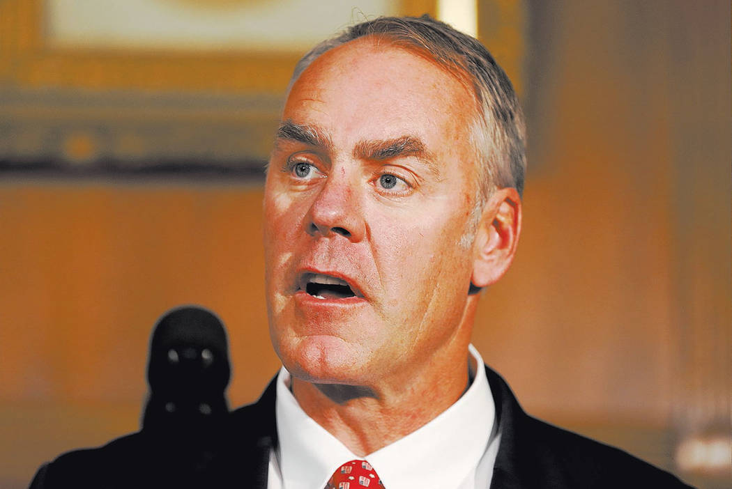 Interior Secretary Ryan Zinke speaks at the Interior Department in Washingtonin April. (AP Photo/Carolyn Kaster)