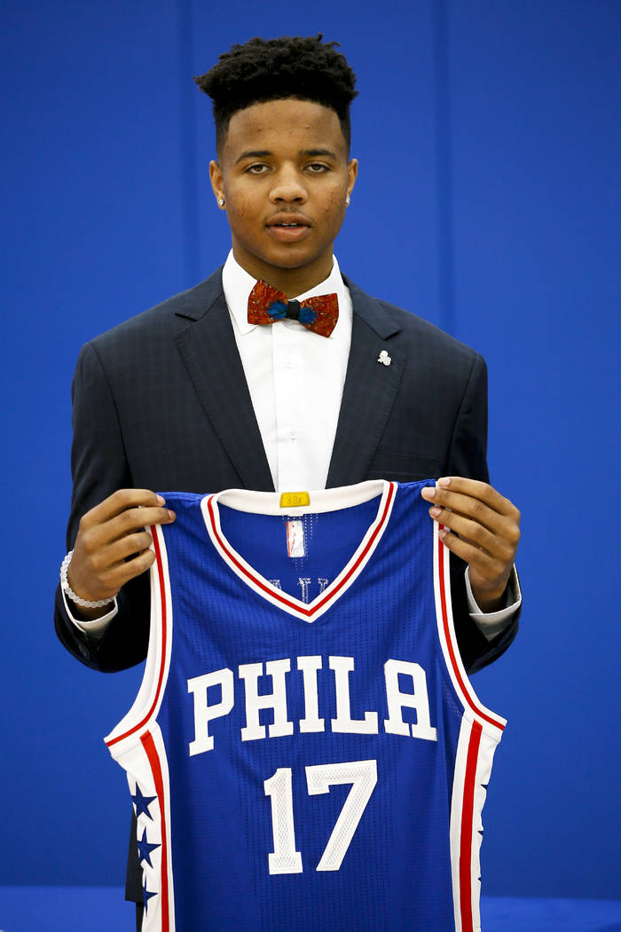 Philadelphia 76ers' draft pick Markelle Fultz poses after a news conference at the team's NBA basketball training complex, Friday, June 23, 2017, in Camden, NJ. (AP Photo/Matt Slocum)