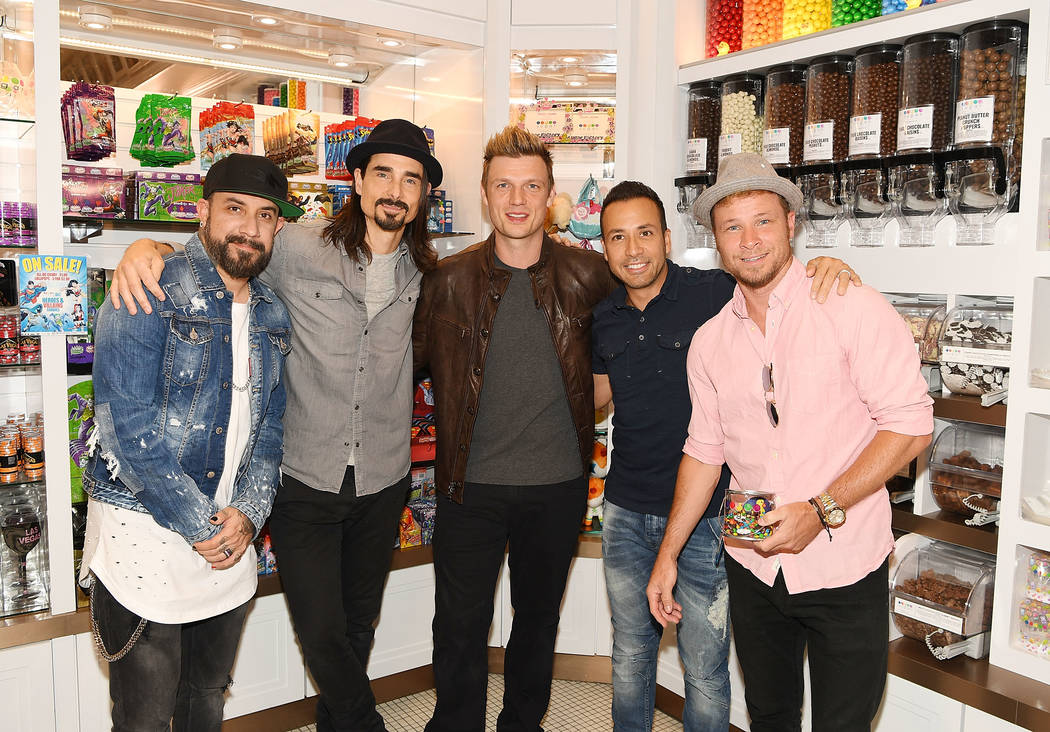 Singers A.J. McLean, Kevin Richardson, Nick Carter, Howie Dorough and Brian Littrell of The Backstreet Boys attend the Sugar Factory grand opening at Fashion Show on Thursday, April 20, 2017, in L ...